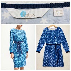 Boden Long Sleeve Star Belted Dress Blue 8R NEW